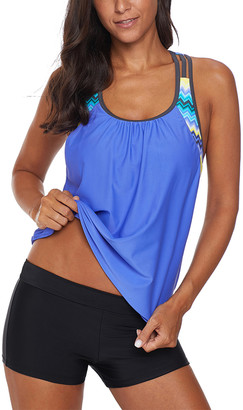 Zesica Women's Bikini Bottoms Blue - Blue T-Strap Tankini Top & Black Boyshort Bottoms - Women