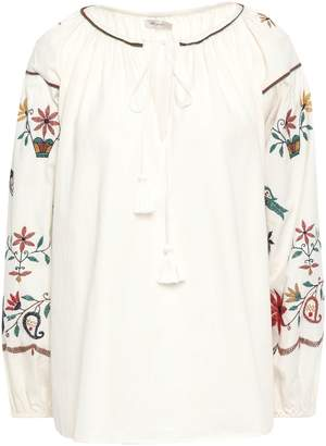 Mes Demoiselles Hansel Gathered Embroidered Cotton-twill Blouse