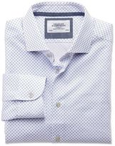 Charles Tyrwhitt Classic Fit Semi-Spread Collar Business Casual Blue and Pink Circle Print Egyptian Cotton Dress Casual Shirt Single Cuff Size 16/33