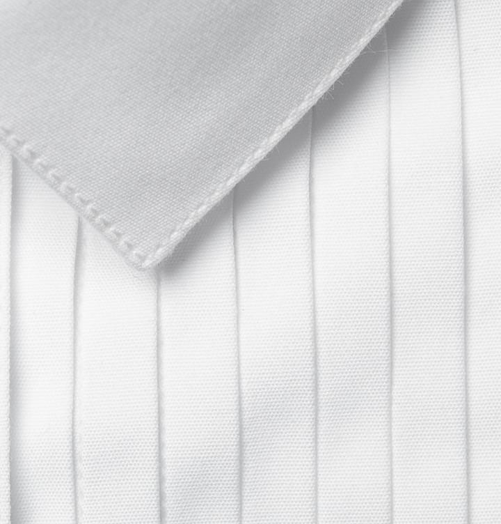 Burberry White Slim-Fit Cotton Tuxedo Shirt
