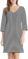 Karen Kane V-Neck 3/4 Sleeve Striped Shift Dress