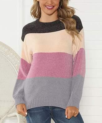 Belle De Jour Belle de Jour Women's Pullover Sweaters Purple - Purple Stripe Drop-Shoulder Sweater - Women