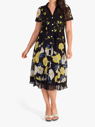 Chesca Floral Poppy Border Shirt Dress, Black/Yellow