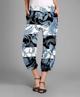 Black & Blue Floral Casual Pants - Plus Too