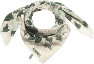 Chanel Sage Green Floral Print Silk Square Scarf