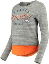 Outerstuff Women's Juniors Heathered Gray/Orange Denver Broncos Shirt Tail Layered Long Sleeve T-Shirt