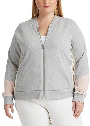 Lauren Ralph Lauren Plus Size French Terry Cotton Jacket (Pearl Grey Heather/Pink Hydrangea/Mascarpone Cream) Women's Clothing