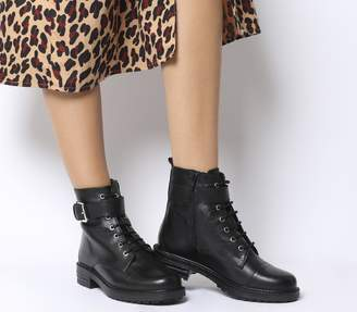 Office Alpaca Buckle Lace up Biker Boots Black Leather