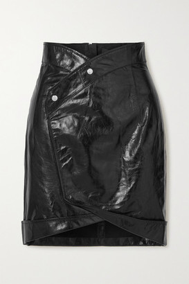RtA Paloma Crinkled Glossed-leather Wrap Mini Skirt - Black