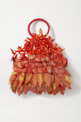 Nannacay Mia Paillette-embellished Velvet And Suede Tote - Orange