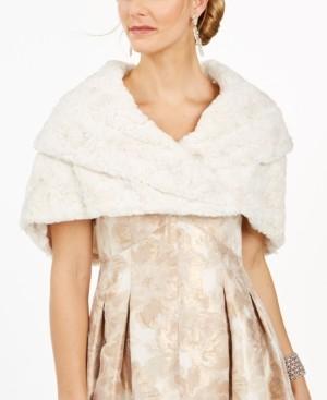 Eliza J Ivory Faux-Fur Shrug