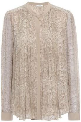 Joie Tassa Pintucked Snake-print Silk-georgette Shirt