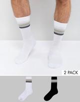 Asos Tube Style Socks With Four Stripe Design 2 Pack