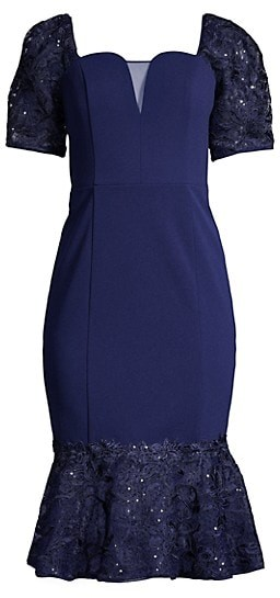 Aidan Mattox Lace Flounce Puff-Sleeve Cocktail Dress
