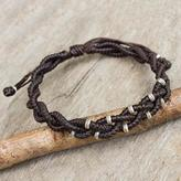 Braided Macrame Bracelet in Espresso Brown with Silver 950, 'Brown Hill Tribe Bride'
