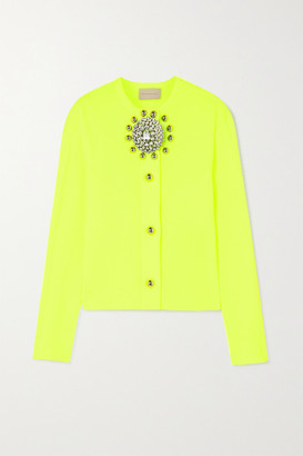 Christopher Kane Embellished Ribbed-knit Cardigan - Green