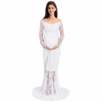 IWEMEK Elegant Photography Maternity Wrap Dress Pregnant Women Mermaid Long Maxi Off Shoulder Gown Floral Lace Long Sleeve V Neck Cocktail Dress for Photo Shoot Wedding Evening Party White