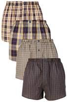 Mens Next Tan Check Woven Boxers Cotton Rich Four Pack - Natural