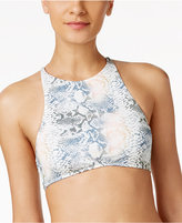 Roxy Strappy Love Snakeskin-Print High-Neck Bikini Crop Top