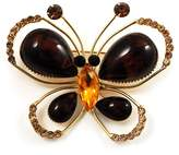 Avalaya Amber Coloured Resin Stone, Crystal Butterfly Brooch ( Tone)