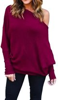Suvotimo Women Casual Off Shoulder Batwing Sleeve Knit Cardigan Sweater Tops S