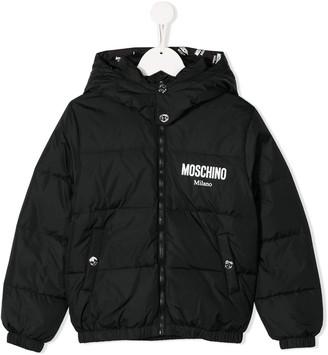 Moschino Kids padded logo hooded jacket