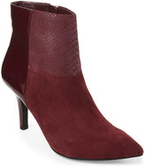 Anne Klein Wine Yarisol Patchwork Ankle Booties