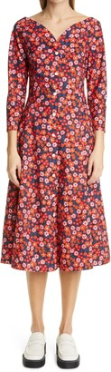 Marni Pop Garden Floral Print Fit & Flare Midi Dress