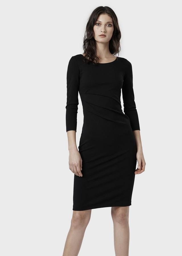 Giorgio Armani Milano Stitch Jersey Dress With Slanting Pleats At The Waistline