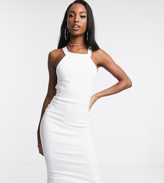 Vesper Tall cross back midi dress in white