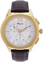 Salvatore Ferragamo 40mm Lungarno Men's Two-Tone Chronograph Watch w/ Leather Strap, Gold/Brown