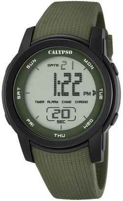 Calypso Unisex Digital Watch with LCD Dial Digital Display and Green Plastic Strap K5698/4