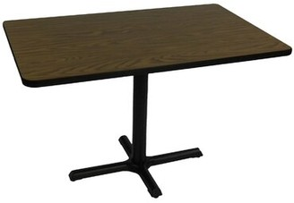"""Rectangular Bar and Cafe Table with Cross Base and Column Correll, Inc. Size: 48"""" W x 30"""" D, Color: Walnut"""