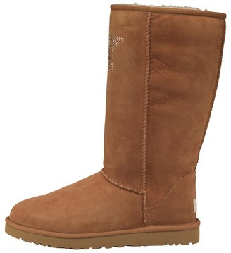 UGG Womens Classic Tall Crystal Star Boots Chestnut