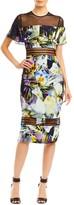 Nicole Miller Daffodil Ruffle Mesh Combo Dress