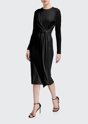 Alice + Olivia Delora Long-Sleeve Tie-Waist Cocktail Dress