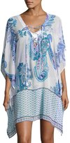 Tommy Bahama Paisley Leaves Lace Up Tunic, White