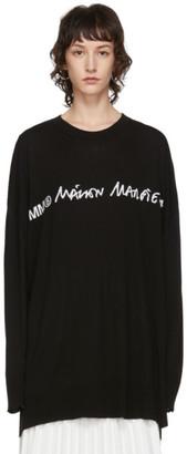 MM6 MAISON MARGIELA Black Oversized Logo Long Sleeve T-Shirt