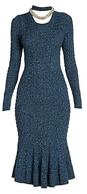 Alexander McQueen Women's Crystal Rope Cable Knit Midi Dress