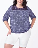 Penningtons d/c JEANS 3/4 Sleeve Printed Blouse with Crochet