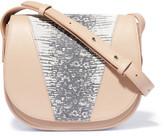 Vince Snake effect-paneled leather shoulder bag