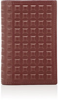 Balenciaga Men's Grid-Embossed Vertical Card Case-BURGUNDY