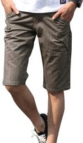 uxcell Man Vertical Stripes Four Pockets Belt Loop Casual Shorts