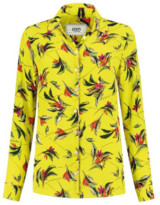 Pom Amsterdam - Lime Safari Print Pom Blouse - 3/UK12 - Yellow