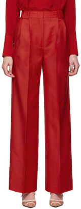 Fendi Red High-Waisted Flare Trousers