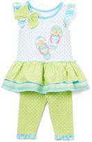 Nannette Green & White Sandal Tunic & Leggings - Infant Toddler & Girls