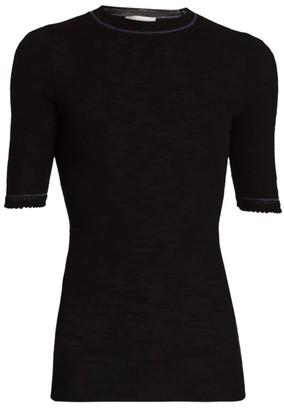 Victoria Beckham Lace-Cuff T-Shirt