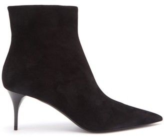 Saint Laurent Lexi Point-toe Suede Ankle Boots - Womens - Black