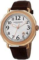 Akribos XXIV Men's AK770RGBR Swiss Quartz Movement Watch with Silver Dial and Brown Leather Strap
