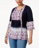 Style&Co. Style & Co Plus Size Printed Dip-Dyed Peasant Top, Only at Macy's